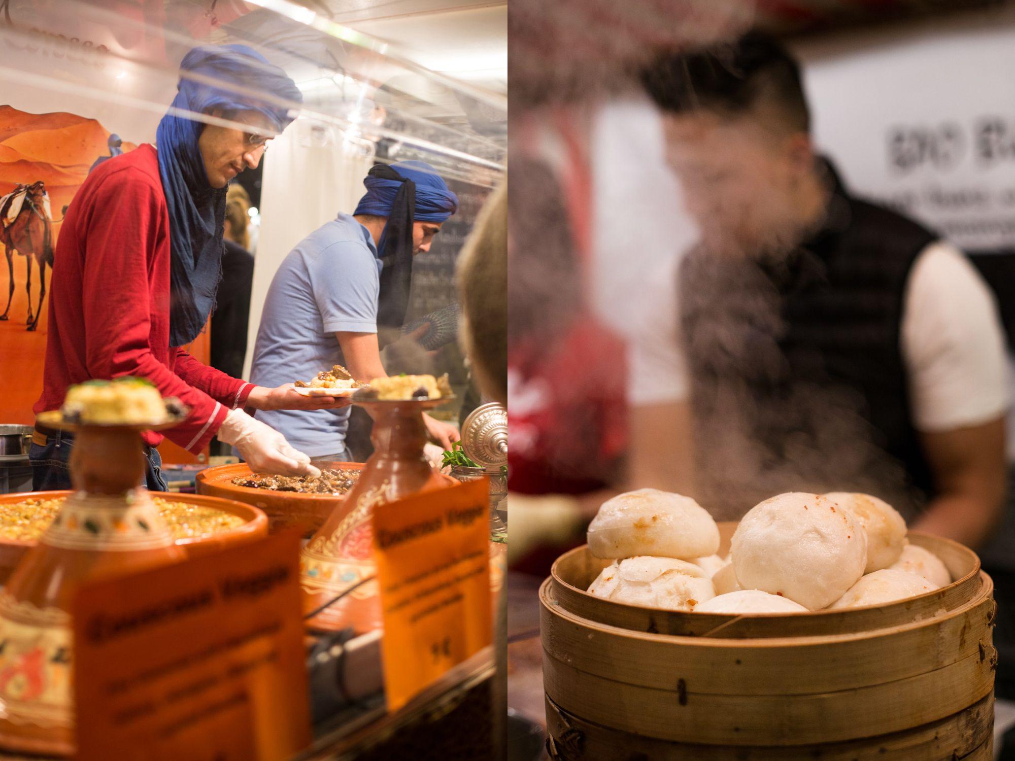 על לחמניות מאודות נהדרות במילוי בשר חזיר, שוק אוכל הרחוב במרקטהאלה. טל סיון-צפורין