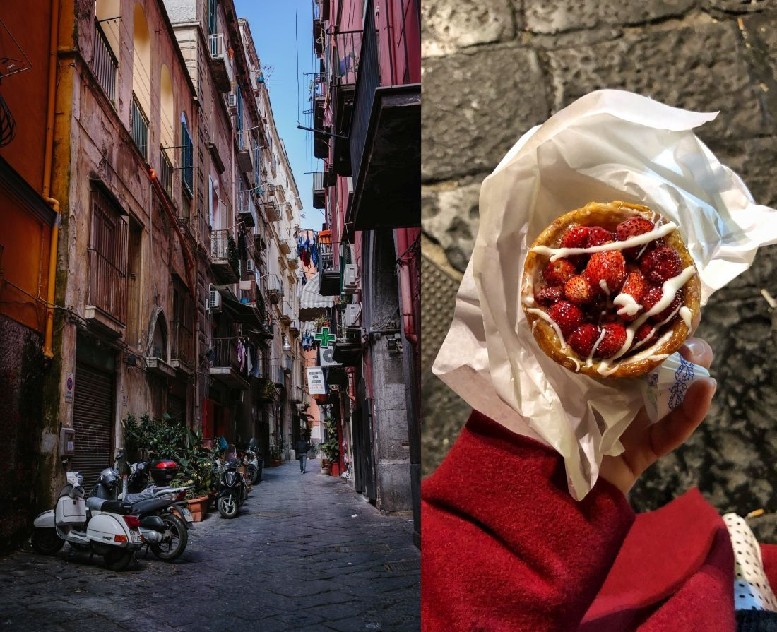משמאל: סמטאות בעיר העתיקה של נאפולי. מימין: פאי תות-שדה, קינוח אופייני