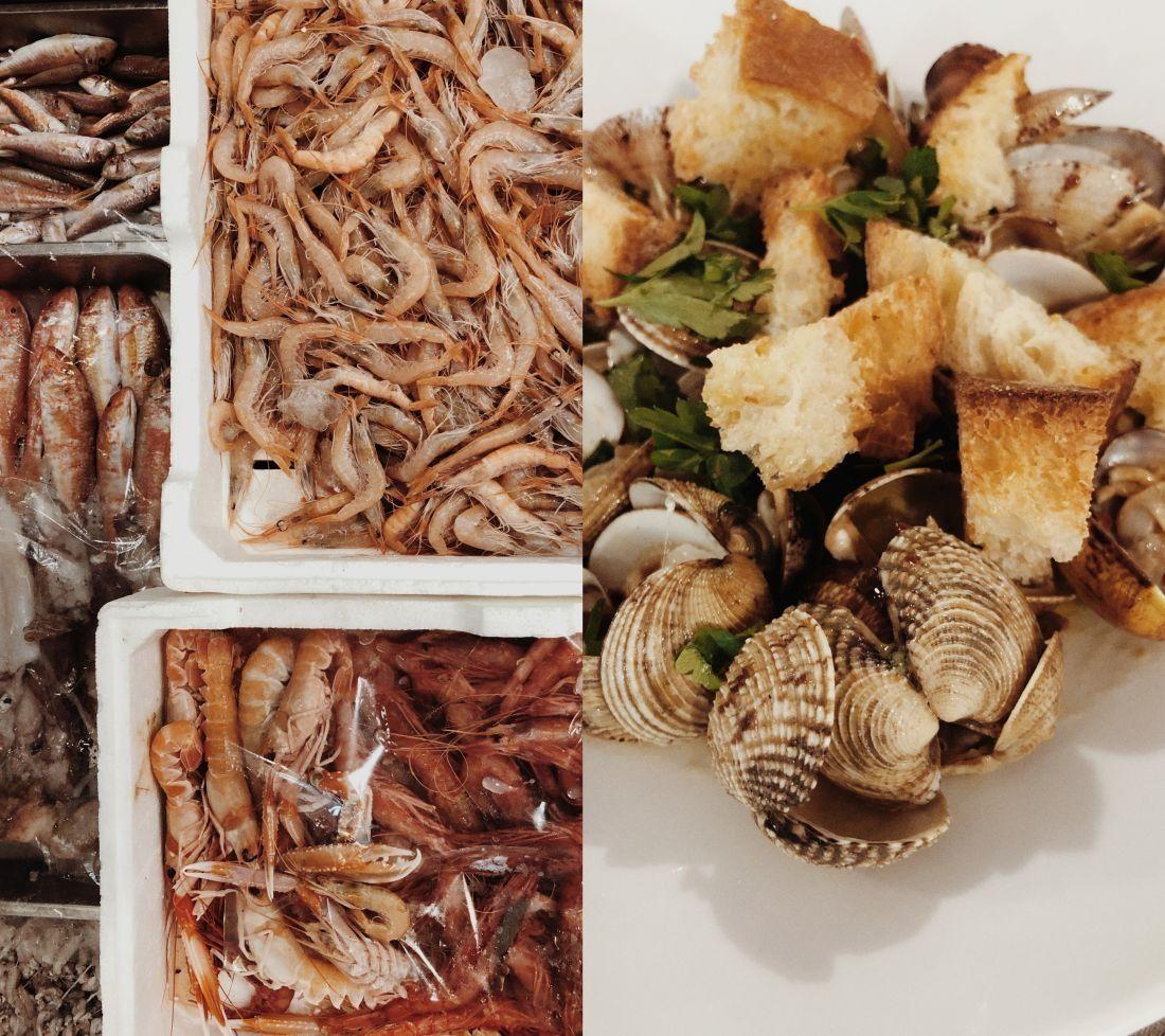 תוצרת ים טרייה באחת המסעדות בארקולנו