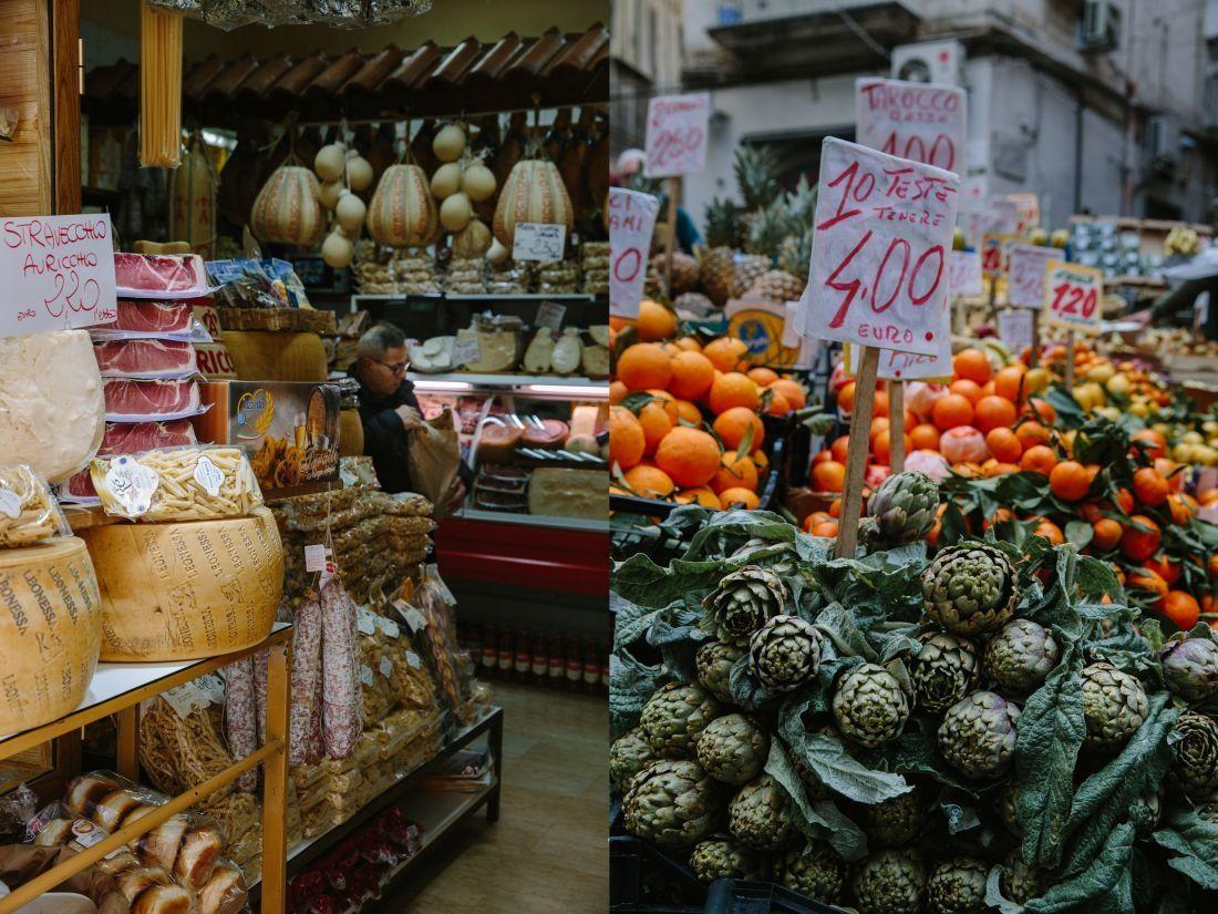 מימין: דוכן ירקות. משמאל: חנות גבינות